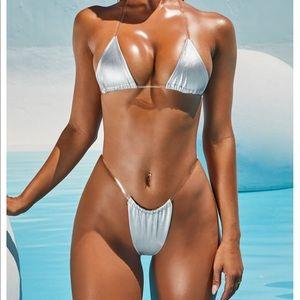 Oh Polly metallic clear strap micro bikini set